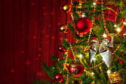 Curtains Photos - Christmas Tree Detail by Carlos Caetano