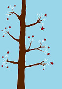 Stars Drawings Posters - Christmas Tree Poster by Frank Tschakert