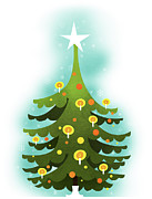 Christmas Star Posters - Christmas Tree Poster by Illustration by Janne Harju