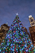 Winter Night Posters - Christmas Tree In Philadelphia Downtown Poster by Travelif