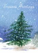 Christmas Card Digital Art Metal Prints - Christmas Tree In The Snow Metal Print by Arline Wagner
