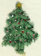 Three Mixed Media Prints - Christmas Tree Print by Mary Helmreich