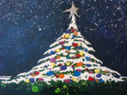 Snow Scene Mixed Media Originals - Christmas Tree by Paula Weber