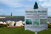 Christmas Tree Ship Point At Algoma Harbor Print by Mark J Seefeldt