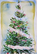 Tilly Strauss Paintings - Christmas tree by Tilly Strauss