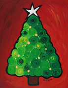 Christmas Card Painting Originals - Christmas Tree Twinkle by Sharon Cummings