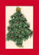 Cards Mixed Media Prints - Christmas Tree with Red Mat Print by Mary Helmreich