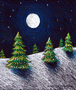 Snow Scene Pastels Posters - Christmas Trees II Poster by Nancy Mueller