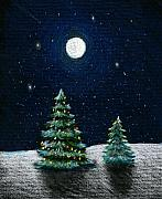 Greeting Cards Drawings Posters - Christmas Trees in the Moonlight Poster by Nancy Mueller