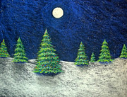 Greeting Cards Pastels Prints - Christmas Trees in the Snow Print by Nancy Mueller