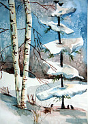 Snow Tree Prints Drawings Framed Prints - Christmas Twitters Framed Print by Mindy Newman