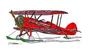 Biplane Drawings - Christmas Waco by Arlon Rosenoff