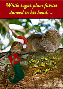 Squirrel Digital Art Metal Prints - Christmas Wish Metal Print by Adele Moscaritolo