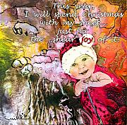 Acrylics Posters - Christmas with My Sheep Poster by Miki De Goodaboom