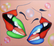 Kisses Paintings - Christmas.Melting kisses. by Tautvydas Davainis