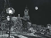 Lamp Post Drawings Framed Prints - Christmastime Framed Print by Robert Goudreau