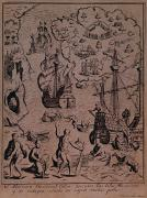 Cartography Drawings Prints - Christopher Colombus discovering the islands of Margarita and Cubagua where they found many pearls Print by Spanish School