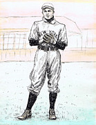 Baseball Drawings Posters - Christy Mathewson Poster by Mel Thompson