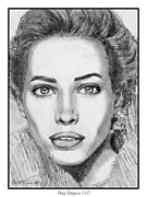 Grey Drawings Framed Prints - Christy Turlington in 1990 Framed Print by J McCombie