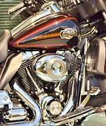 Harley Davidson Road King Motorcycles Photos - Chrome Magnet by Rene Triay
