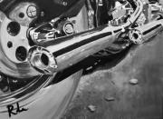 Harley Davidson Paintings - Chrome Pipes BW by Ruben Barbosa