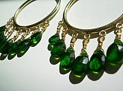 Exotic Jewelry - Chromium Diopside Hoops by Adove  Fine Jewelry