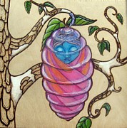Surrealism Pyrography Framed Prints - Chrysalis Framed Print by Lynn Dobbins