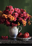 Food And Drink Art - Chrysanthemum Flowers In Vase by Panga Natalie Ukraine