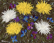 Chrysanthemums And Irises Print by Marina Gershman