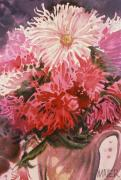 Mums Paintings - Chrysanthemums by Donald Maier