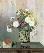Interior Still Life Framed Prints - Chrysanthemums in a Chinese Vase Framed Print by Camille Pissarro