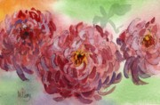 Mums Paintings - Chrysanthenums by MaryAnn Cleary