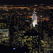 New York City Night Prints - Chrysler Building At New York City Print by Philippe Brunel