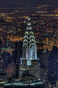 High Angle View Framed Prints - Chrysler Building At Night Framed Print by Jason Pierce Photography (jasonpiercephotography.com)