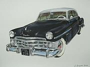 Classic Pastels Posters - Chrysler Coupe New Yorker Poster by Joanne Simpson
