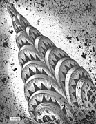 Buildings Art Drawings Framed Prints - Chrysler Spire Framed Print by Adam Zebediah Joseph