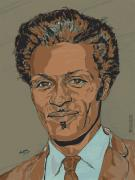 Rock N Roll Drawings Prints - Chuck Berry - Brown-Eyed Handsome Man  Print by Suzanne Gee