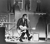 African Americans Photo Framed Prints - Chuck Berry B. 1926 On Stage, Playing Framed Print by Everett