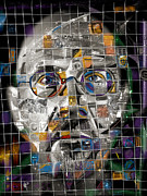 Portrait Artist Mixed Media Framed Prints - Chuck Close Framed Print by Russell Pierce
