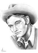 Western Pencil Drawing Posters - Chuck Conners-Rifleman Poster by Murphy Elliott