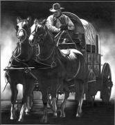 Western Pencil Drawings Posters - Chuck Wagon Poster by Jerry Winick