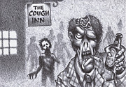 Zombies Drawings Prints - Chuckin Out Time At The Cough Inn Pub Print by Hermit