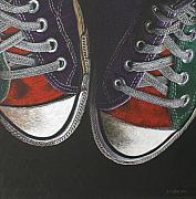 Tennis Drawings Originals - Chucks Canvas by Donna Slade
