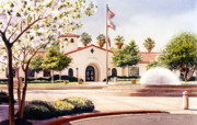 City Hall Painting Framed Prints - Chula Vista City Hall Framed Print by Mary Helmreich