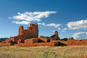 Pueblo Architecture Posters - Church Abo - Salinas Pueblo Missions Ruins - New Mexico - National Monument Poster by Christine Till