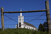 Barbed Wire Fences Photo Prints - Church And Barbed Wire Print by Garry Gay