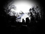 Headstones Digital Art Prints - Church and Cemetary- lens Print by Charleen Treasures