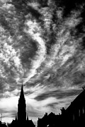 Monochrome Photos - Church and Clouds by Hakon Soreide
