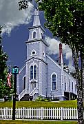 Picket Fence Prints - Church and Flag Print by Dale Stillman