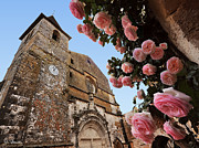Aquitaine Metal Prints - Church and Roses Metal Print by Joe Bonita